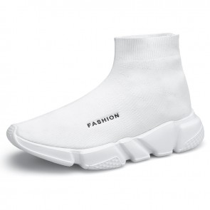 Height Elevator Mid-Top Sock Trainers White Knit Slip On Walking Running Shoes Increase 2.8 inc / 7 cm