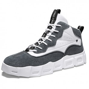 Grey High Top Skateboarding Shoes Make You Taller Korean Trendy Elevator Sneakers 2.8inch / 7cm