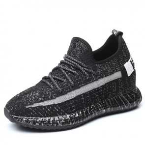 Black Flyknit Elevator Sneakers for Men Increase Height 3.6inch / 9cm Skateboarding Running Shoes