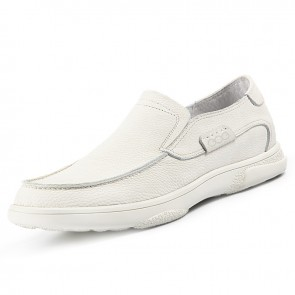 Comfortable Hidden Taller Loafers for Men Add Height 2.4 inch / 6 cm White Cowhide Business Casual Shoes