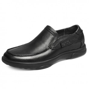 2021 Comfortable Height Increasing Loafers Black Cowhide Leather Casual Shoes Tall 2.4 inch / 6 cm