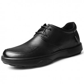 Black Chunky Sole Casual Shoes Soft Leather Height Increasing Dad Shoes Add Taller 2.4 inch / 6 cm