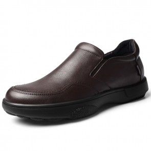 Relaxed Height Slip-On Loafer Brown Soft Leather Business Casual Shoes Gain Taler 2.4inch / 6cm