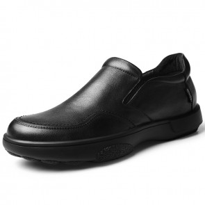 Relaxed Elevator Slip-On Loafer Black Soft Leather Business Casual Shoes Add Height 2.4 inch / 6 cm