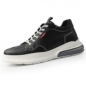 2020 Breathable Height Increasing Skate Shoes for Men Increase 2.6inch / 6.5cm Black Korean Hidden Taller Shoes