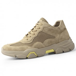 Khaki Retro Height Increasing Working Shoes for Men Get Taller 2.4inch / 6cm Breathable Mesh Fashion Casual Shoes