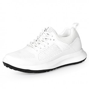 2021 Lightweight Hidden Lift Mesh Sneakers White Ultrahigh Elevator Flyknit Sneakers 3.2inch / 8cm