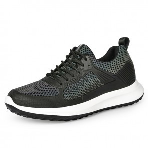 2021 Lightweight Height Increasing Mesh Sneakers Add Height  3.2 inch Black Ultrahigh Tall Flyknit Sneakers