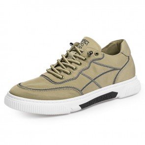 2021 Khaki Elevator Canvas Sneakers Ice Silk Cloth Casual Sports Shoes Taller 2.4 inch / 6 cm