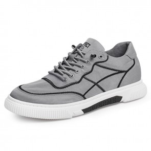 2021 Grey Taller Canvas Sneakers Ice Silk Cloth Casual Sports Shoes Increasing 2.4 inch / 6 cm
