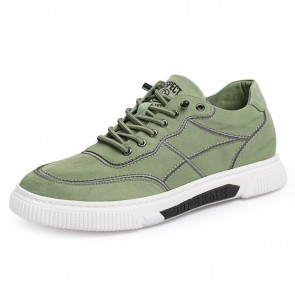 2021 Green Height Increasing Canvas Sneakers Ice Silk Cloth Casual Sports Shoes Add 2.4 inch / 6 cm