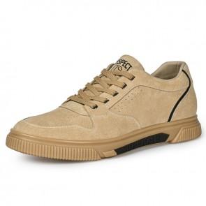 2021 Height Elevator Skateboard Shoes Camel Hidden Lift Fashion Sneakers Add 2.4 inch / 6 cm