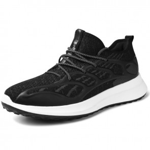 Height Increasing Flying Shoes for Men Add Taller 3.2 inch / 8 cm Black Lightweight Slip On Fashion Sneakers
