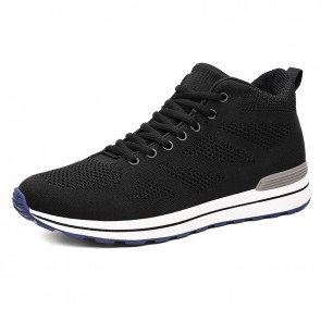 Breathable Elevator Sneakers Get Taller 2.8inch / 7cm Black Height Increasing Mesh Shoes