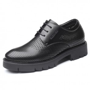 Height Increasing Summer Dress Sandals for Men Add Taller 3.6 inch / 9 cm Elevator Perforated Formal Shoes