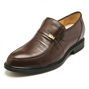 Europe brown leather height increasing slip on formal shoes get taller 5.5cm / 2.17 inch