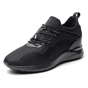 Lightweight Taller Men Fashion Sneakers Add Height 3.2inch / 8cm Black Lycra Leisure Sports Shoes