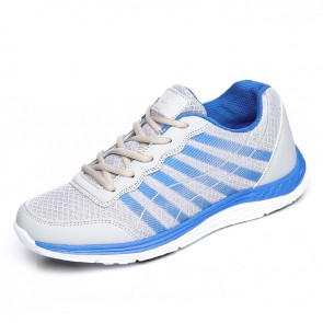 Grey lightweight mesh height increasing sneakers add taller 6.5cm / 2.56inch lace up walking shoes