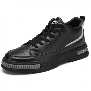 Modern Elevator Mid Cut Sneakers for Men Add Taller 2.6 inch / 6.5 cm Black Perforated Leather Skate Shoes