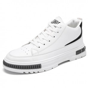 Modern LIft Mid Cut Sneakers Increase Height 2.6 inch / 6.5 cm White Perforated Leather Skate Shoes