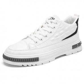 Designer Hidden Lift Crocodile Pattern Sneaker Boost 2.6 inch / 6.5 cm White Leather Mid Cut Skate Shoes