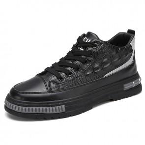 Designer Elevator Crocodile Pattern Sneaker Add Height 2.6 inch / 6.5 cm Black Mid Cut Casual Skate Shoes