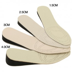 Cowhide height increasing insoles add taller 1.5cm to 4cm tailorable elevator inserts
