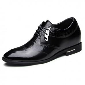 Croco wedding tuxedo shoes 6.5cm / 2.56inch height increasing formal shoes