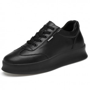 2020 Easy Match Hidden Lift Skate Shoes for Men Add Tall 3inch / 7.5cm Low Top Black Leather Fashion Sneakers