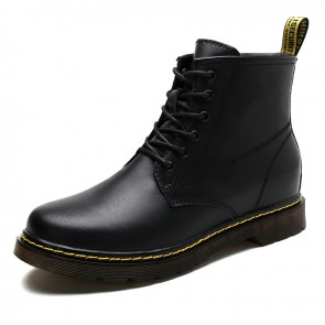 Hidden Taller European Work Boots for Men Increase Height 3.2 inch / 8 cm Cowhide Leather Elevator Martin Boot