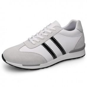 Hidden Taller Fitness Trainers Add Taller 2.4 inch / 6 cm White Suede Calfskin Lace-up Walking Shoes