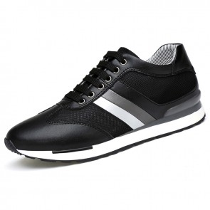 Black Elevator Skateboarding shoes Increase 3.2inch / 8cm breathable casual mesh sneakers