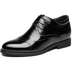 Superior Height Increasing Dress Shoes 3.2inch / 8cm Black Calfskin Cap Toe Elevator Wedding Shoes