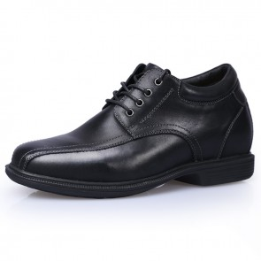 Extra Taller Business Shoes for Men Get Height 9cm / 3.5inch Black Genuine Leather Casual Shoes