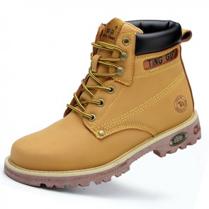Height Elevator Chukka Boot Increase 3.2inch / 8cm Yellow Leather Spacious Toe Work Boots