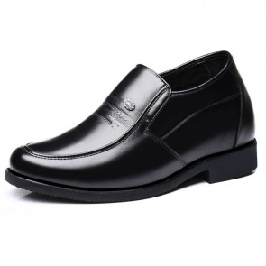 Black Hidden Heel Men Dress Shoes Slip On Formal Loafers Increase Tall 3.2inch / 8cm