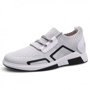 Grey Daily Sneakers Add Your Taller Slip On Walking Shoes Height Sock Flyknit Loafers Increase 2.6inch / 6.5cm