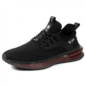 Black Elevator Minimalist Sneakers Soft Flyknit Workout Shoes Make You Taller 2.4 inch / 6 cm
