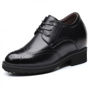4inch Wing Tip Elevator Brogue Shoes for Men Increase 10cm Lace Up Taller Dressy Formal Shoes