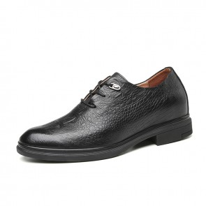 Black Celebrities Elevator Oxfords for Men Add Taller 2.4 inch / 6 cm Genuine Leather Formal Dress Shoes