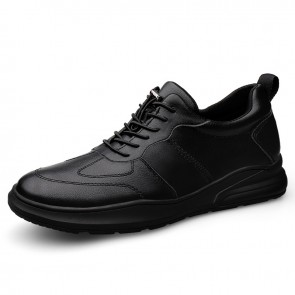 Black Elevator Men Leather Sneaker Casual Low Top Hidden Lift Shoes Add Taller 2.4 inch / 6 cm