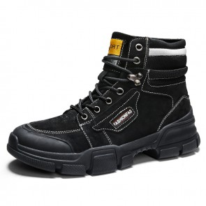 Height Increasing Military Boots for Men Gain Taller 3.2inch / 8cm Black Breathable Lace Up Work Boot