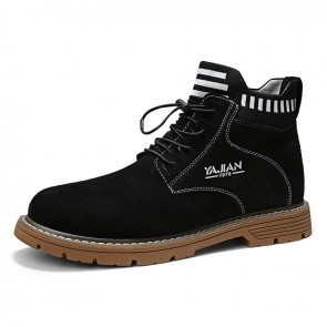 Slip On Hidden Heel Boots Black Imitation Cowhide Chukka Boot Height Work Boots Increase 3.2inch / 8cm