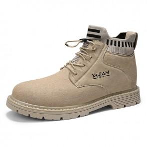 Slip On Hidden Taller Boots Tan Imitation Cowhide Chukka Outdoor Work Boots Add Height 3.2inch / 8cm