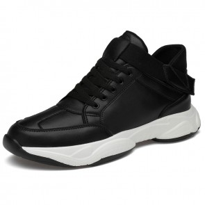 Height Increasing High Top Skateboarding Shoes Black Trendy Clunky Sneaker Add Your Tall 2.8inch / 7cm