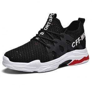Stylish Elevator Tongueless Sneaker for Men Gain Height 2.8 inch / 7 cm Black Lightweight Mesh Running Shoes