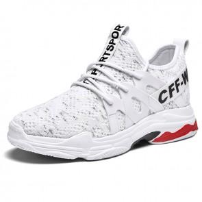 Stylish Taller Men Tongueless Sneaker Increasing 2.8 inch / 7 cm White Lightweight Mesh Running Shoes