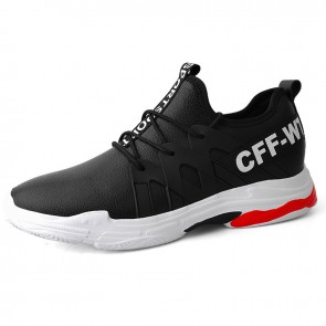 Comfy Elevator Casual Walking Shoes for Men Add Height 2.8 inch / 7 cm Black Hidden Lift Leather Sneakers
