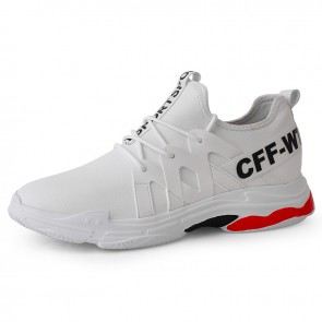 Comfy Height Increasing Casual Walking Shoesfor Men Add Taller 2.8 inch / 7 cm White Hidden Lift Leather Sneakers
