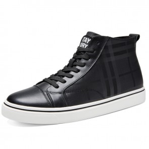 Elevator Hight Top Skate Shoes Black Hidden Lift Damier Sneakers Add Taller 2.4inch / 6cm